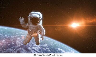 animatie, ruimtevaarder, 3840x2160, buitenst, mooi, ruimte, backgound., gedetailleerd, tegen, 3d, 4k, ultra, hoog, aarde, hd