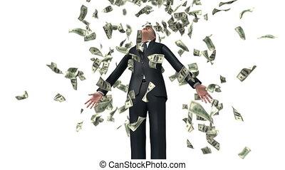 animatie, zakenman, achtergrond., succesvolle , diepte, ultra, 3840x2160, 3d, het vallen, witte , hd, akker, 4k, geld