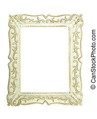 antieke , afbeelding, oud, houten, tekst, frame, vrijstaand, of, plek, witte , beeld, lege