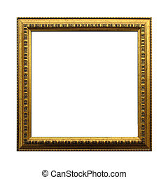 antieke , af)knippen, plein, goud, frame, vrijstaand, achtergrond., incluis, steegjes, witte