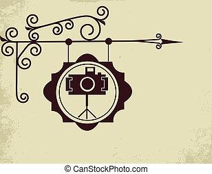 antieke , foto, straat, opslagteken