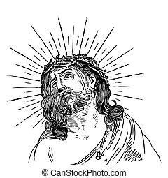 antieke , gravure, (vector), jesus
