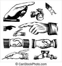 antieke , gravures, (vector), handen