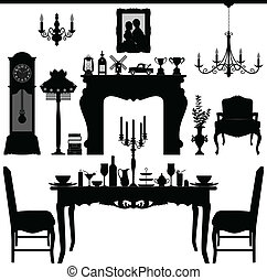 antieke , het dineren, oud, meubel