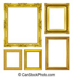 antieke , set, goud, frame, vrijstaand, achtergrond, witte
