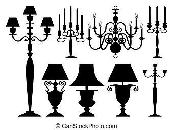 antieke , silhouettes, set, verlichting