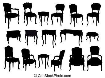 antieke , stoelen, vector, tafels