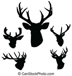 antlers, hertje, silhouette