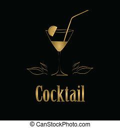 aperitiefglas, menu, achtergrond., vector, ontwerp