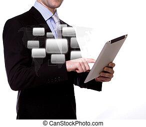apparaat, aanraakscherm, zakenmens
