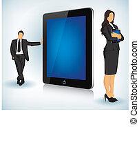 apparaat, tablet, zakenlui