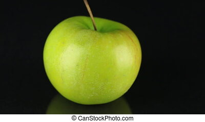 appel, fruit., ronddraaien, achtergrond., groene, black