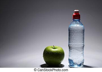 appel, water, groene, fles, fris, koude