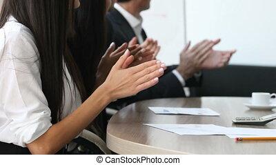 applauding, vergadering, handen