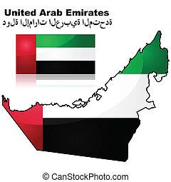 arabier, kaart, vlag, verenigd, emiraten