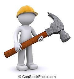 arbeider, bouwsector, hamer, 3d