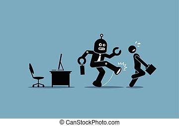 arbeider, menselijk, werknemer, robot, weg, werk, kantoor., zijn, schoppen, computer