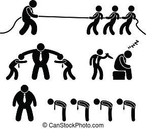 arbeider, zakelijk, vecht, pictogram
