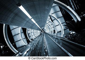 architecture., sidewalk., verhuizing, tunnel, futuristisch