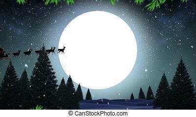 arreslee, wezen, black , rendier, kerstman, getrokken, claus, animatie, silhouette