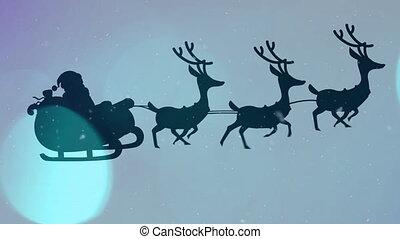arreslee, wezen, blauwe , rendier, kerstman, getrokken, claus, animatie, silhouette, achtergrond