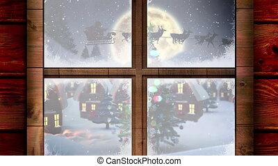 arreslee, wezen, rendier, kerstman, getrokken, claus, animatie, silhouette