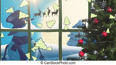 arreslee, wezen, sneeuwpop, rendier, kerstman, getrokken, claus, animatie, silhouette