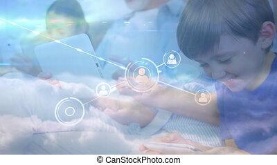 artikelen & hulpmiddelen, gebruik, verbinding, tegen, gezin, elektronisch, iconen, netwerk