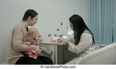 arts, medisch, aanbevelingen, kabinet, pasgeboren, tweeling, kinderarts, moeder, geeft