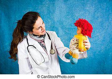 arts, vrouwlijk, vasthouden, pop