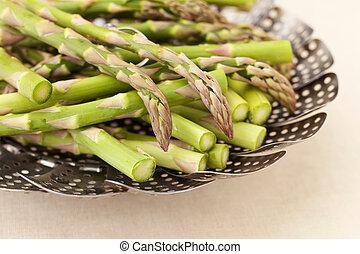 asperges, mand, stoomkoker, groene