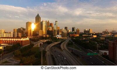 atlanta, schemering, uur, downtown, bies, stad skyline, georgië, verkeer