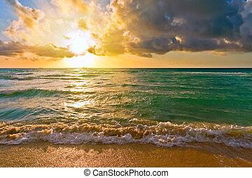 atlantische oceaan, fl, usa, zonopkomst