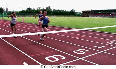atleten, lijn, kruising, afwerking