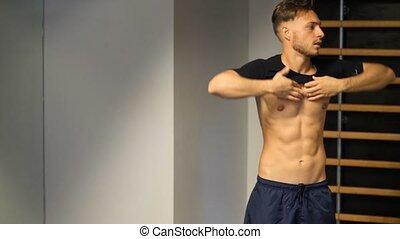 atletisch, gym, man, jonge, aankleding