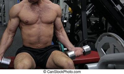 atletisch, oefeningen, gym, dumbbells, kerel