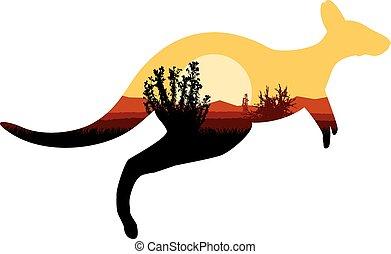australiër, silhouette, kangoeroe