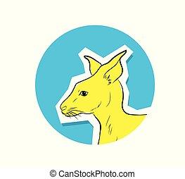 australiër, vector, kangoeroe, gezicht