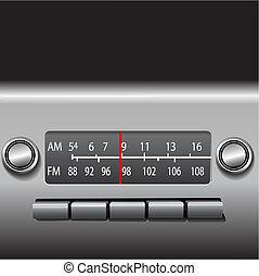 auto, besturen, radio, dashboard, tijd, fm