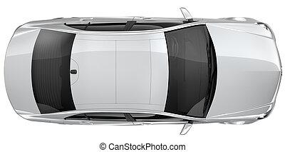 auto, bovenzijde, -, zilver, aanzicht