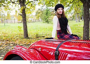 auto, cowling, vrouw, rok, rood