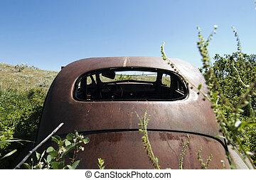 auto, geroeste, prairie