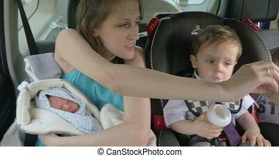 auto, kinderen, het reizen, moeder