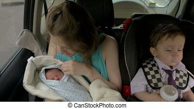 auto, kinderen, twee, moeder