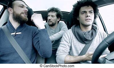 auto, mannen, het bespreken, vecht