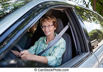 auto, oude vrouw, geleider