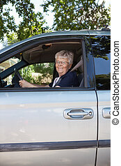 auto, oude vrouw, mooi, geleider