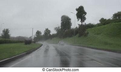 auto, regen, snelweg, herfst