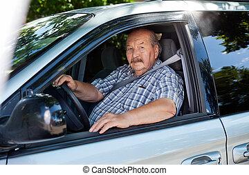 auto, senior, geleider, man