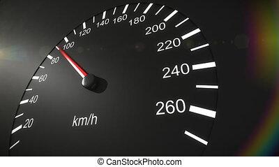 auto, snelheidsmeter, hd